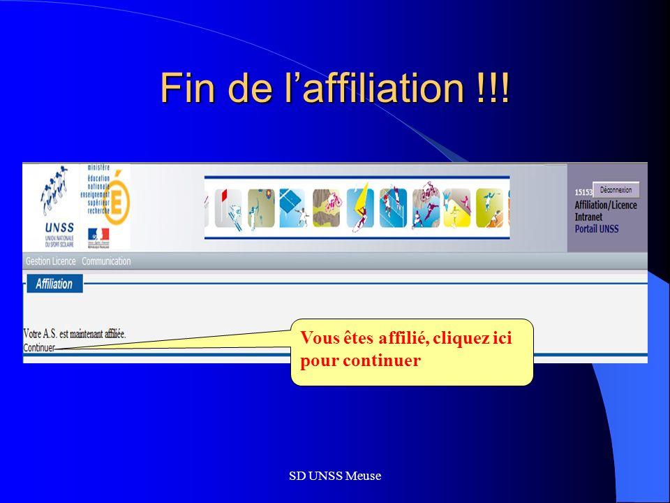 SD UNSS Meuse Fin de laffiliation !!! Vous êtes affilié, cliquez ici pour continuer