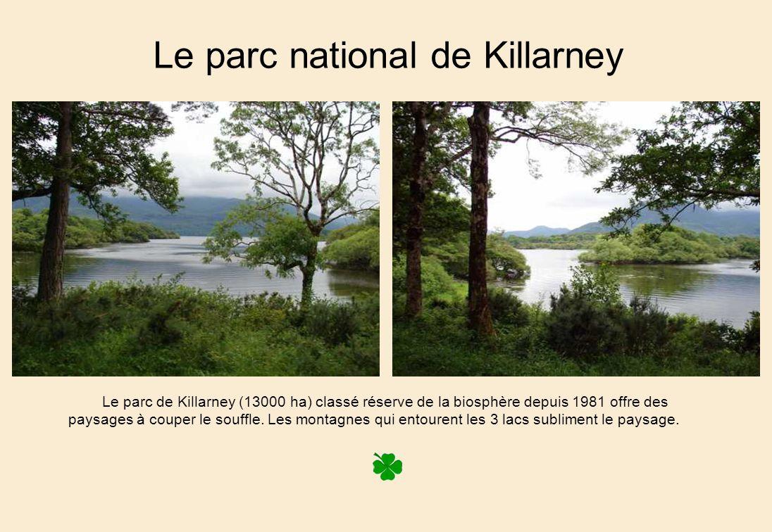 Le parc national de Killarney Le parc de Killarney (13000 ha) classé réserve de la biosphère depuis 1981 offre des paysages à couper le souffle.