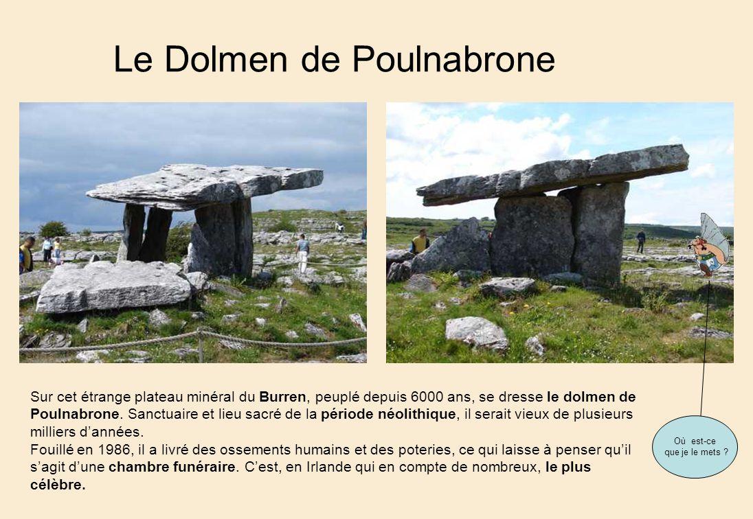 Le Dolmen de Poulnabrone Sur cet étrange plateau minéral du Burren, peuplé depuis 6000 ans, se dresse le dolmen de Poulnabrone.