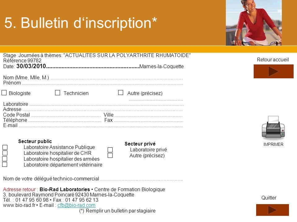 5. Bulletin dinscription* Stage :Journées à thèmes: