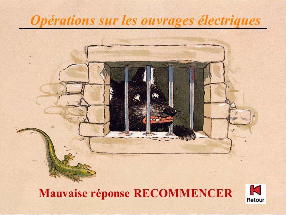 Mauvaise réponse RECOMMENCER Opérations sur les ouvrages électriques