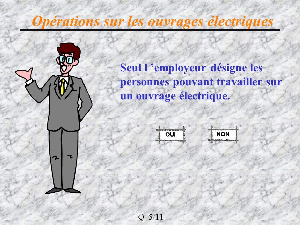 Opérations sur les ouvrages électriques Seul l employeur désigne les personnes pouvant travailler sur un ouvrage électrique.