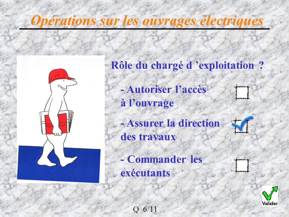 Opérations sur les ouvrages électriques Rôle du chargé d exploitation .