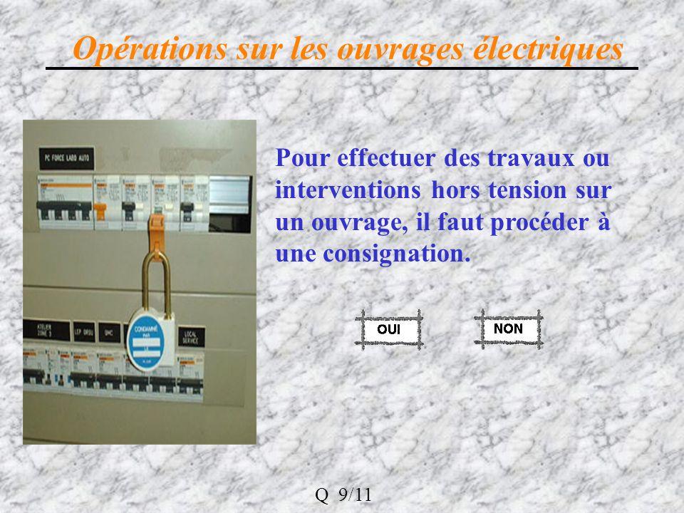 Opérations sur les ouvrages électriques Pour effectuer des travaux ou interventions hors tension sur un ouvrage, il faut procéder à une consignation.