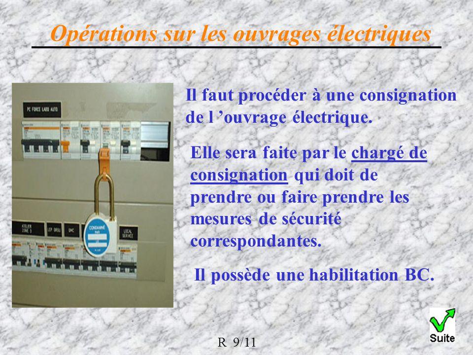 Il faut procéder à une consignation de l ouvrage électrique.