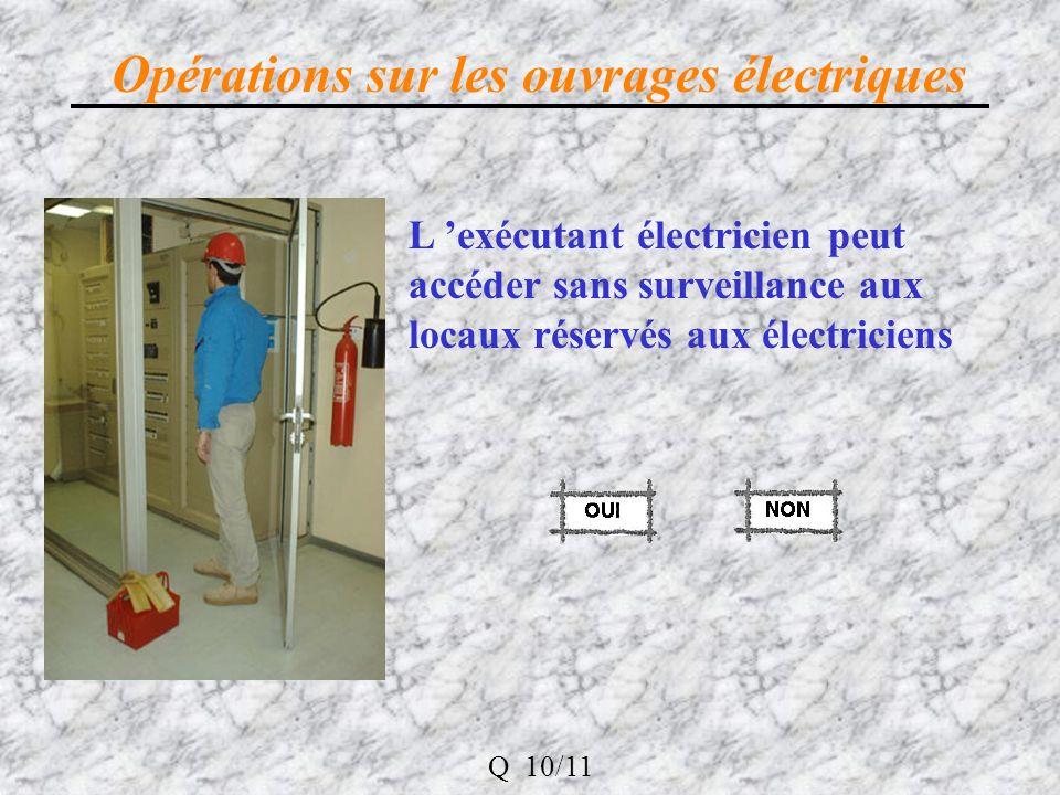 Opérations sur les ouvrages électriques L exécutant électricien peut accéder sans surveillance aux locaux réservés aux électriciens Q 10/11