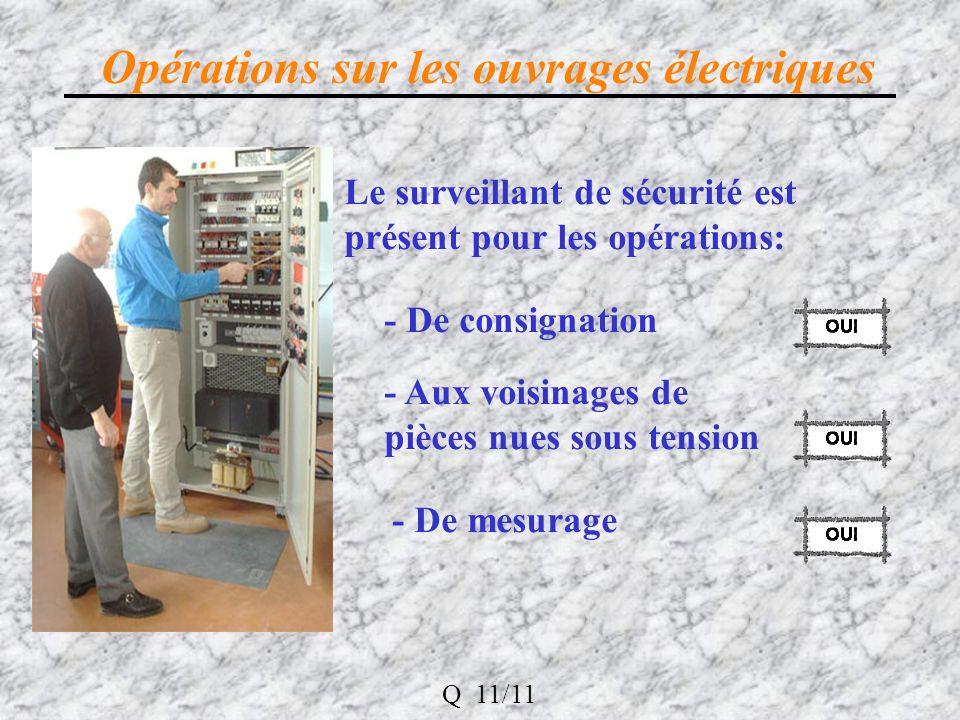 Opérations sur les ouvrages électriques Le surveillant de sécurité est présent pour les opérations: - De consignation - De mesurage - Aux voisinages de pièces nues sous tension Q 11/11