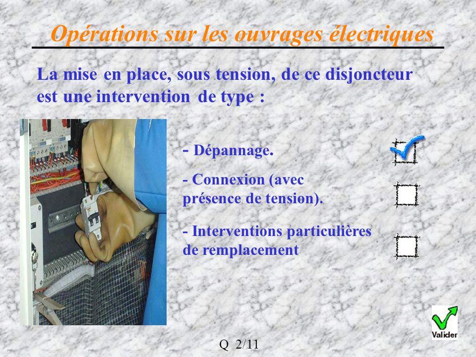 La mise en place, sous tension, de ce disjoncteur est une intervention de type : Opérations sur les ouvrages électriques - Dépannage.