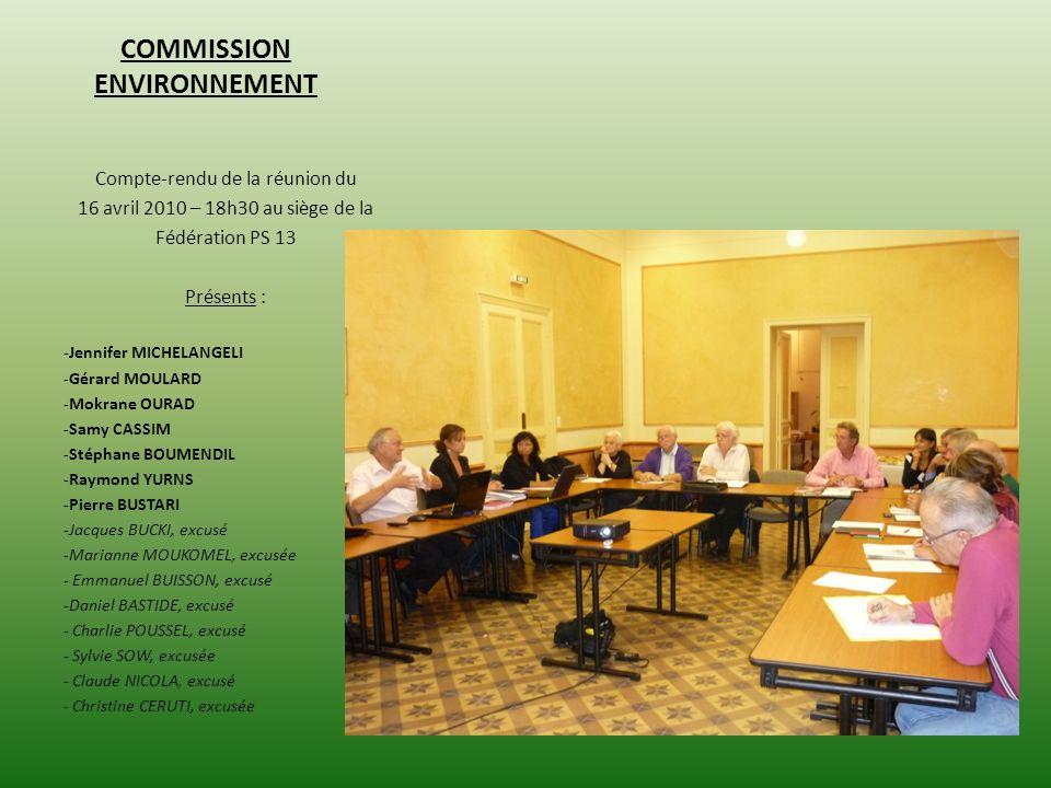 COMMISSION ENVIRONNEMENT Compte-rendu de la réunion du 16 avril 2010 – 18h30 au siège de la Fédération PS 13 Présents : -Jennifer MICHELANGELI -Gérard MOULARD -Mokrane OURAD -Samy CASSIM -Stéphane BOUMENDIL -Raymond YURNS -Pierre BUSTARI -Jacques BUCKI, excusé -Marianne MOUKOMEL, excusée - Emmanuel BUISSON, excusé -Daniel BASTIDE, excusé - Charlie POUSSEL, excusé - Sylvie SOW, excusée - Claude NICOLA, excusé - Christine CERUTI, excusée