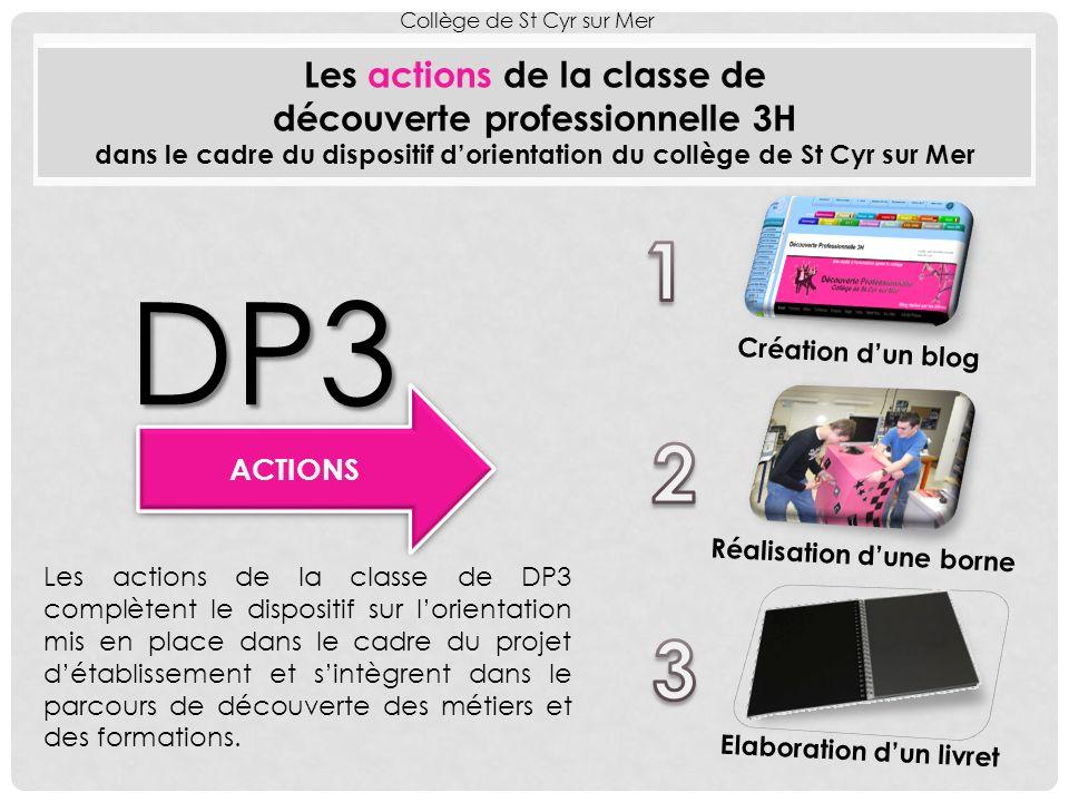 ACTIONS Les actions de la classe de découverte professionnelle 3H dans le cadre du dispositif dorientation du collège de St Cyr sur Mer Collège de St