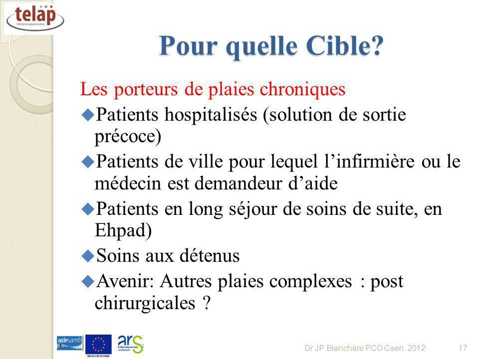 Pour quelle Cible? Les porteurs de plaies chroniques Patients hospitalisés (solution de sortie précoce) Patients de ville pour lequel linfirmière ou l
