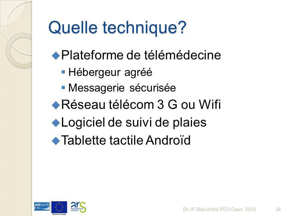 Quelle technique? Plateforme de télémédecine Hébergeur agréé Messagerie sécurisée Réseau télécom 3 G ou Wifi Logiciel de suivi de plaies Tablette tact