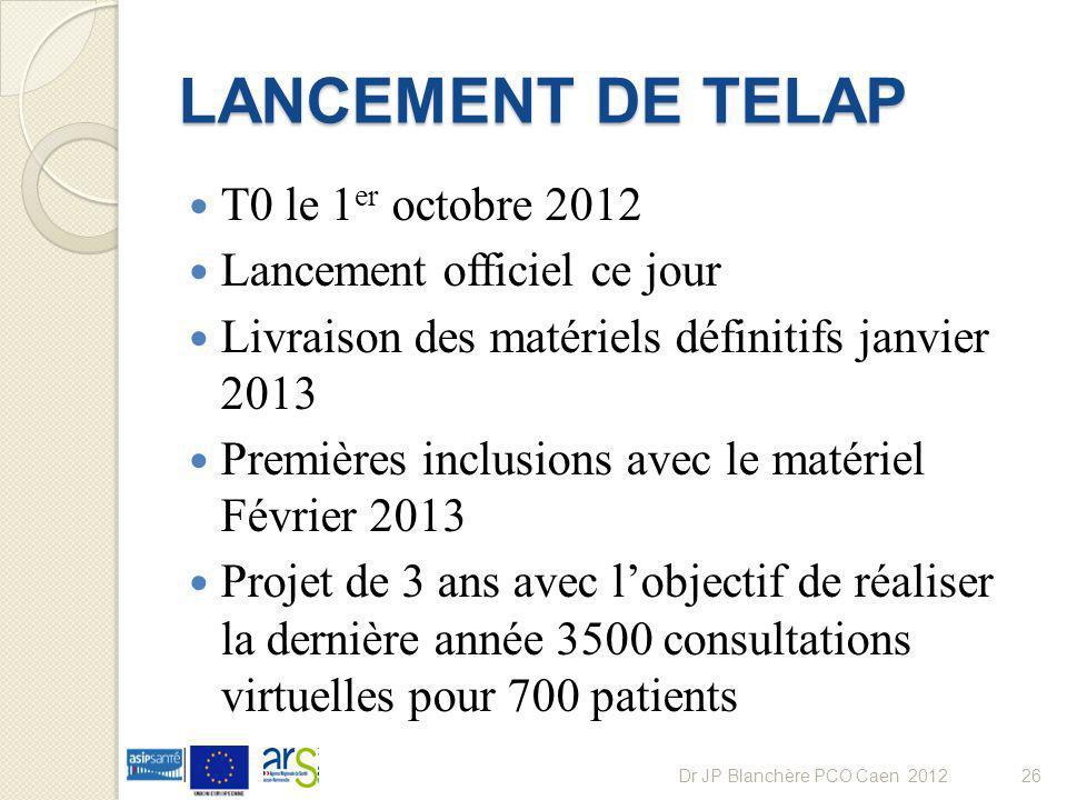 LANCEMENT DE TELAP T0 le 1 er octobre 2012 Lancement officiel ce jour Livraison des matériels définitifs janvier 2013 Premières inclusions avec le mat
