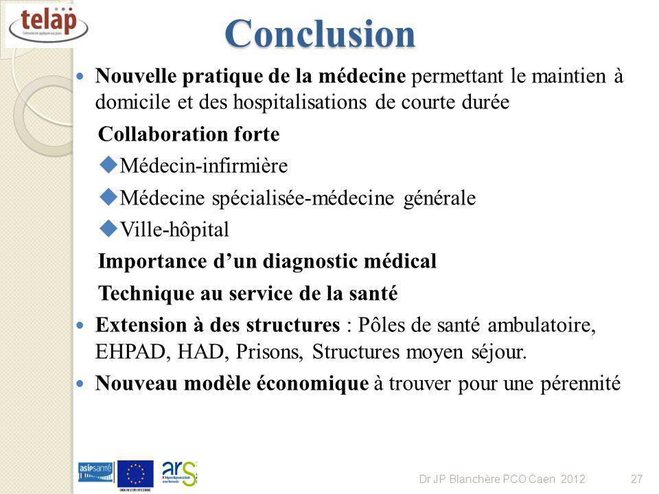 Conclusion Nouvelle pratique de la médecine permettant le maintien à domicile et des hospitalisations de courte durée Collaboration forte Médecin-infi