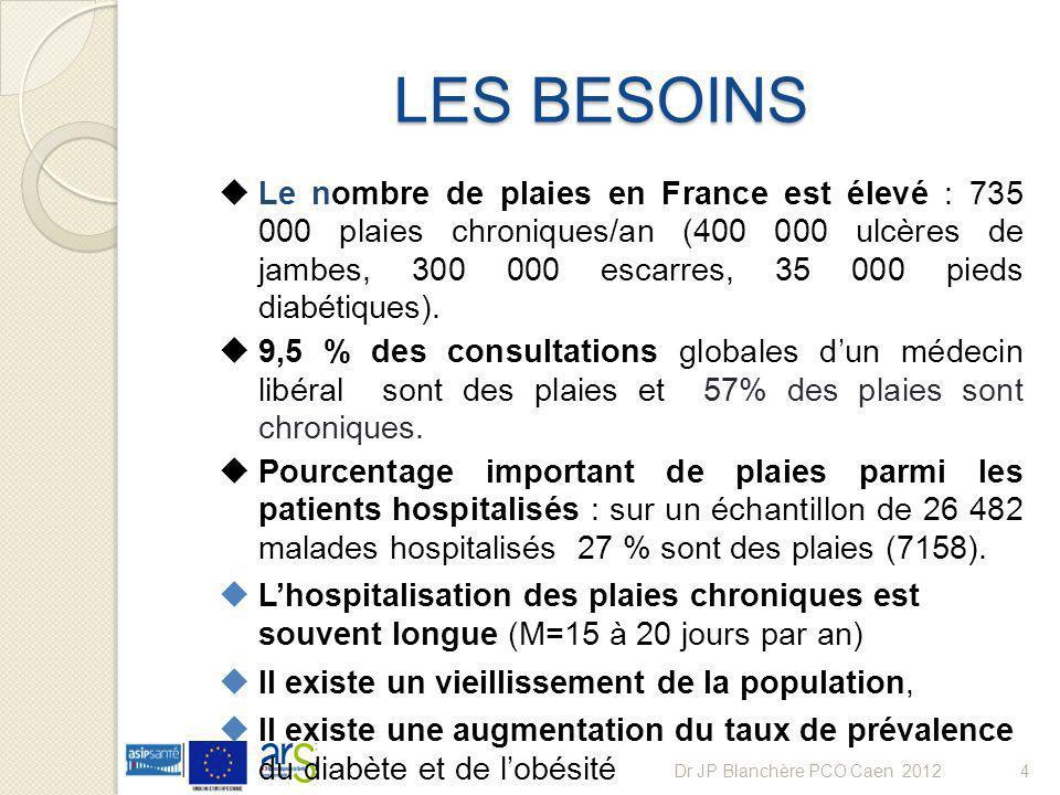 LES BESOINS Le nombre de plaies en France est élevé : 735 000 plaies chroniques/an (400 000 ulcères de jambes, 300 000 escarres, 35 000 pieds diabétiq