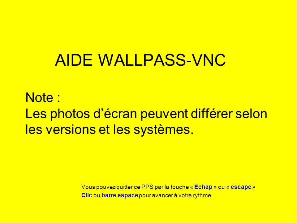 AIDE WALLPASS-VNC Note : Les photos décran peuvent différer selon les versions et les systèmes.
