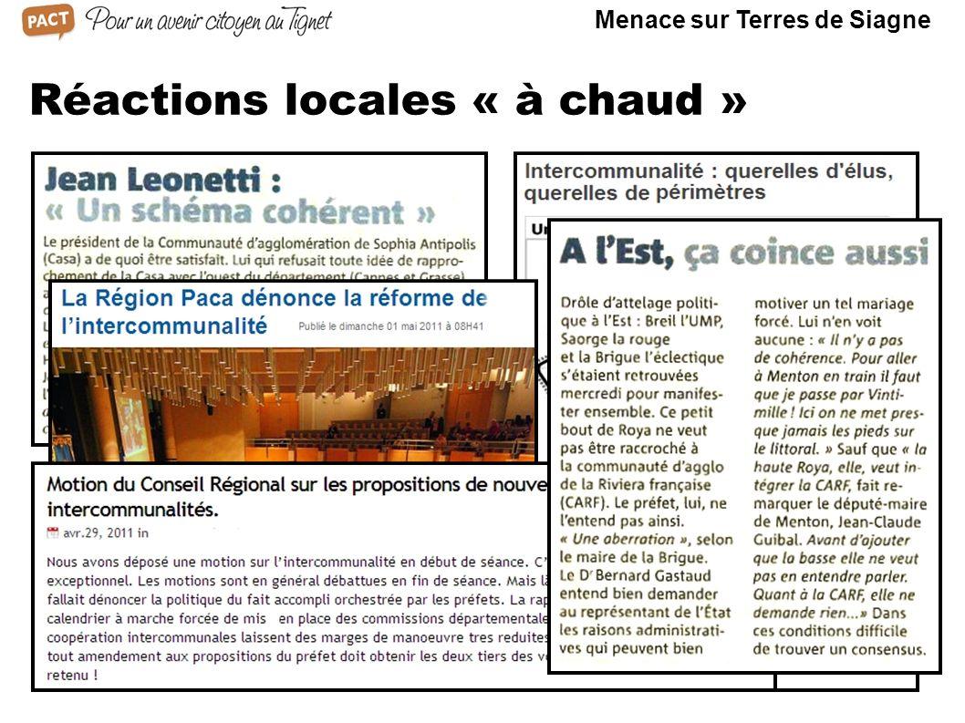 Réactions locales « à chaud » Menace sur Terres de Siagne