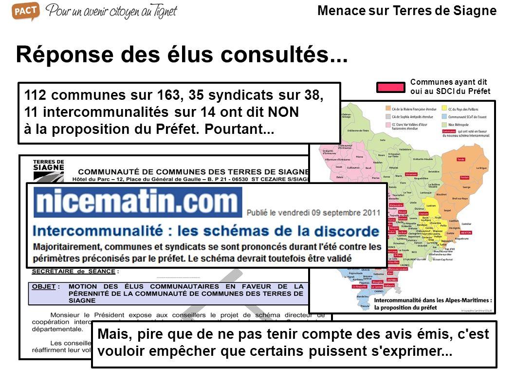 Communes ayant dit oui au SDCI du Préfet Réponse des élus consultés... 112 communes sur 163, 35 syndicats sur 38, 11 intercommunalités sur 14 ont dit