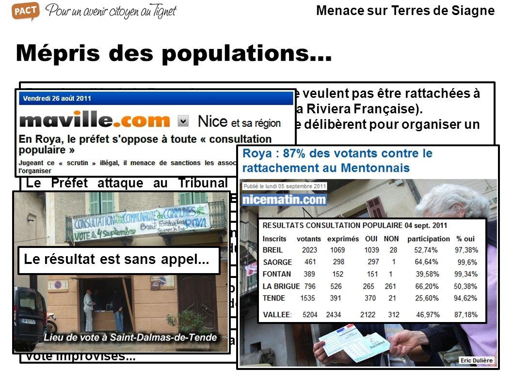 Mépris des populations... Dans la vallée de la Roya, des communes ne veulent pas être rattachées à la CARF (Communauté d'agglomération de la Riviera F