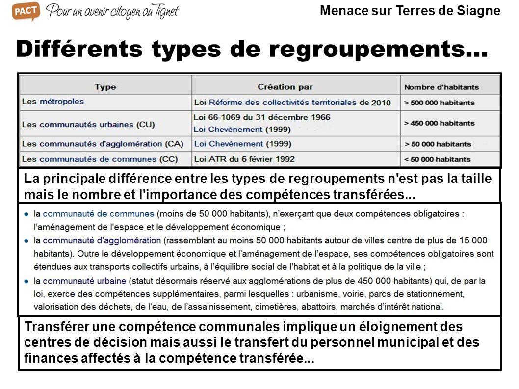 Différents types de regroupements... La principale différence entre les types de regroupements n'est pas la taille mais le nombre et l'importance des