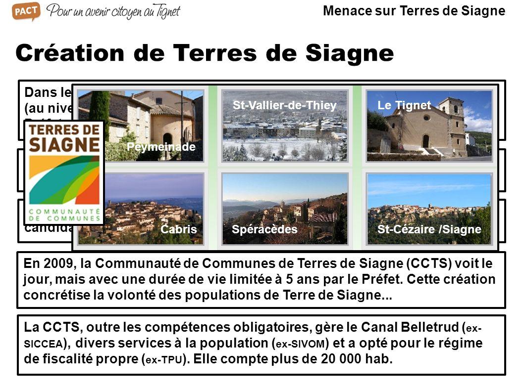 Création de Terres de Siagne Dans les années 90, 2 tentatives de création de communauté de communes (au niveau du canton, puis avec le canton de Fayen