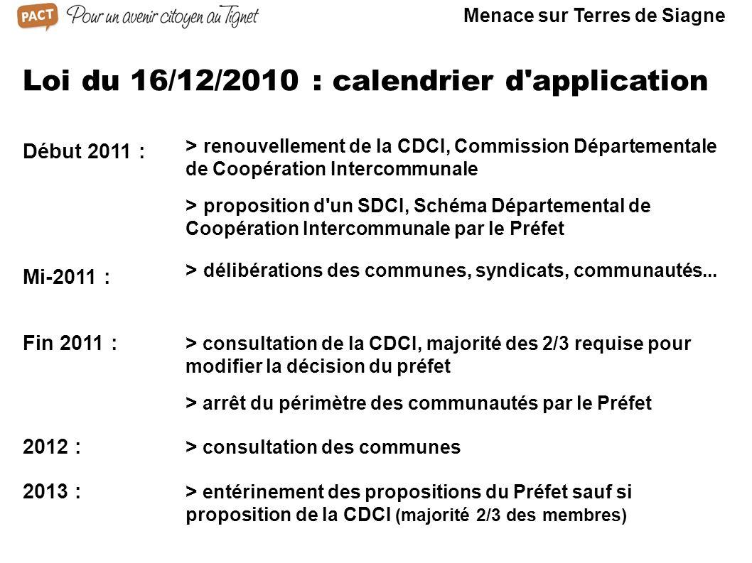 Loi du 16/12/2010 : calendrier d'application Début 2011 : > proposition d'un SDCI, Schéma Départemental de Coopération Intercommunale par le Préfet >