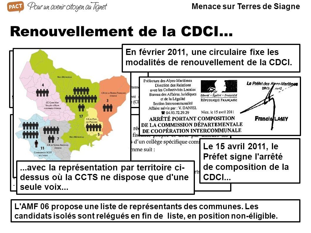 Renouvellement de la CDCI... L'AMF 06 propose une liste de représentants des communes. Les candidats isolés sont relégués en fin de liste, en position