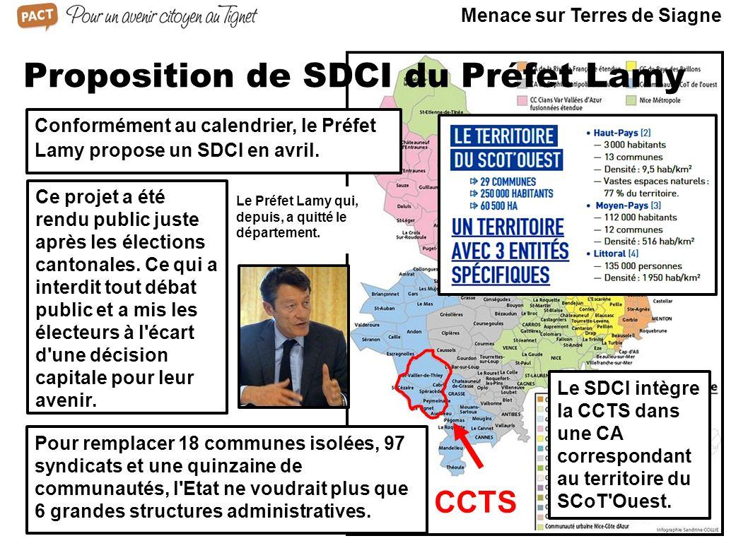 CCTS Proposition de SDCI du Préfet Lamy Pour remplacer 18 communes isolées, 97 syndicats et une quinzaine de communautés, l'Etat ne voudrait plus que