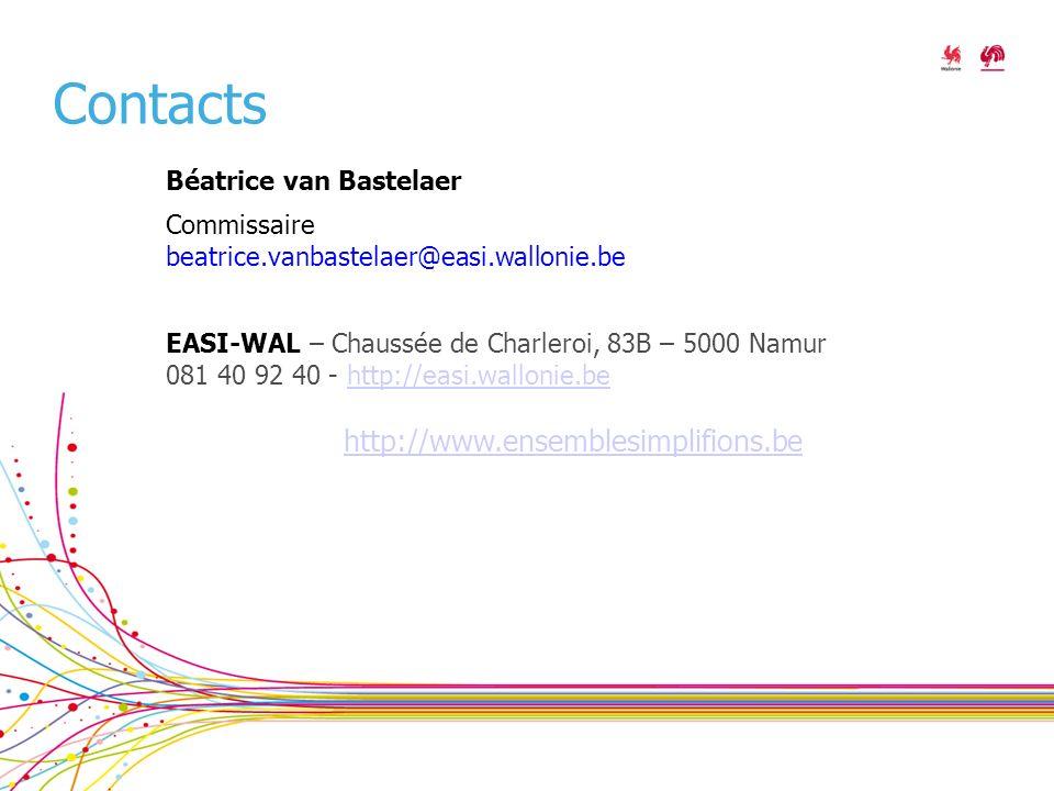 Contacts Béatrice van Bastelaer Commissaire beatrice.vanbastelaer@easi.wallonie.be EASI-WAL – Chaussée de Charleroi, 83B – 5000 Namur 081 40 92 40 - http://easi.wallonie.behttp://easi.wallonie.be http://www.ensemblesimplifions.be