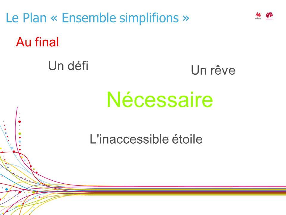 Le Plan « Ensemble simplifions » Nécessaire L inaccessible étoile Un rêve Un défi Au final