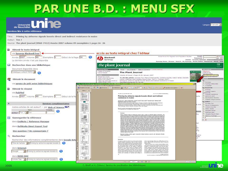 2008 C. Ghelfi et K. Chèvre / Service de coordination des bibliothèques PAR UNE B.D.