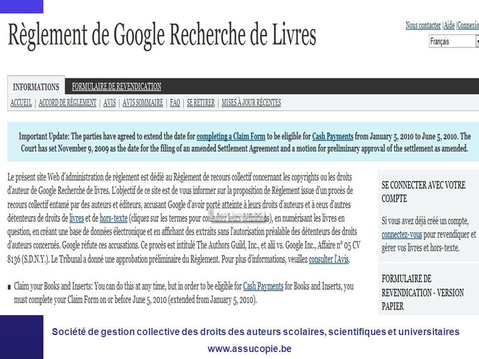 Société de gestion collective des droits des auteurs scolaires, scientifiques et universitaires www.assucopie.be