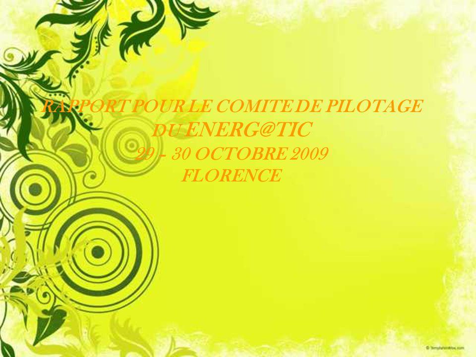 RAPPORT POUR LE COMITE DE PILOTAGE DU ENERG@TIC 29 – 30 OCTOBRE 2009 FLORENCE