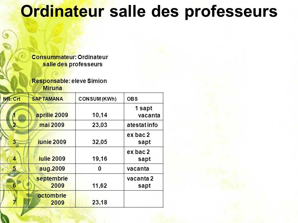 Ordinateur salle des professeurs Consummateur: Ordinateur salle des professeurs Responsable: eleve Simion Miruna NR.