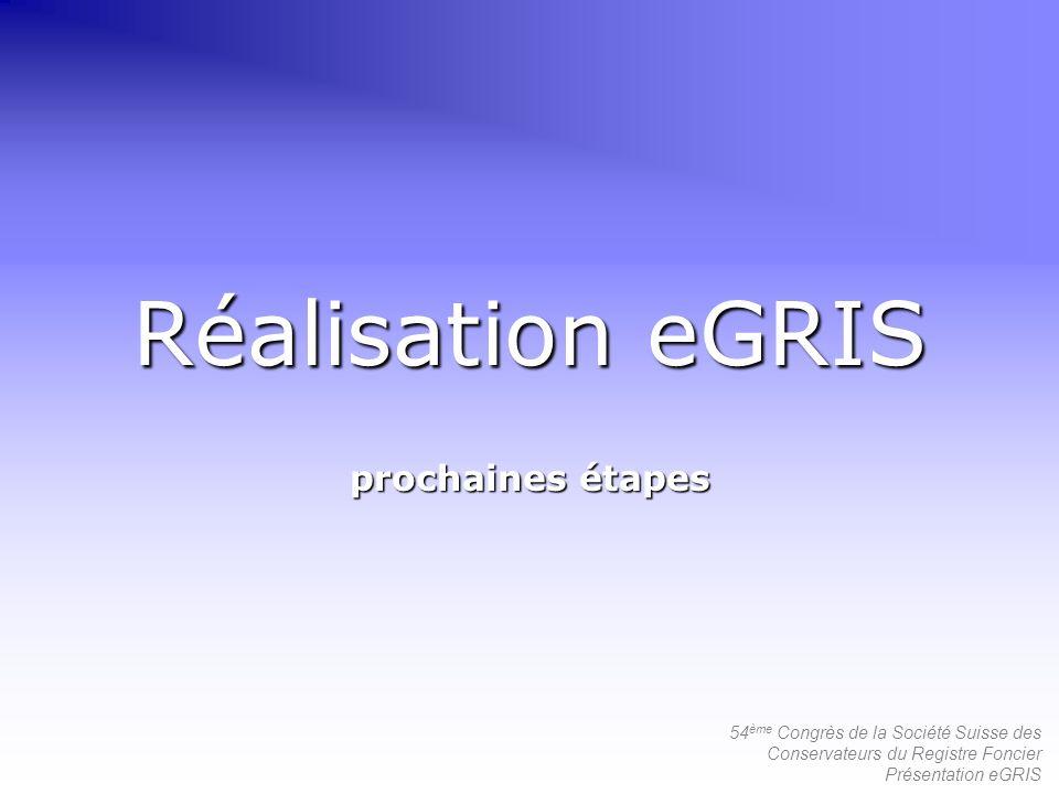 54 ème Congrès de la Société Suisse des Conservateurs du Registre Foncier Présentation eGRIS Réalisation eGRIS prochaines étapes