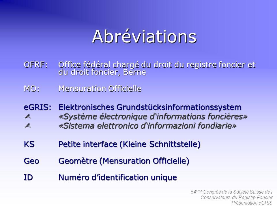 54 ème Congrès de la Société Suisse des Conservateurs du Registre Foncier Présentation eGRIS Abréviations OFRF:Office fédéral chargé du droit du regis