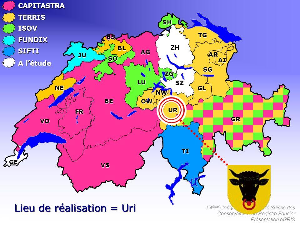 54 ème Congrès de la Société Suisse des Conservateurs du Registre Foncier Présentation eGRISCAPITASTRATERRIS ISOV FUNDIX SIFTI Lieu de réalisation = U