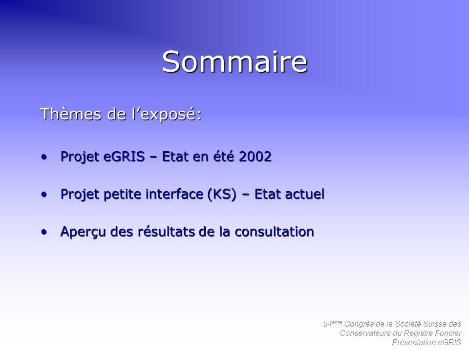 54 ème Congrès de la Société Suisse des Conservateurs du Registre Foncier Présentation eGRIS Sommaire Thèmes de lexposé: Projet eGRIS – Etat en été 20