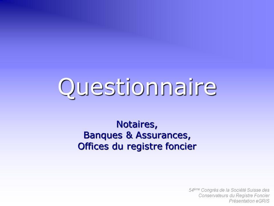 54 ème Congrès de la Société Suisse des Conservateurs du Registre Foncier Présentation eGRIS Questionnaire Notaires, Banques & Assurances, Offices du