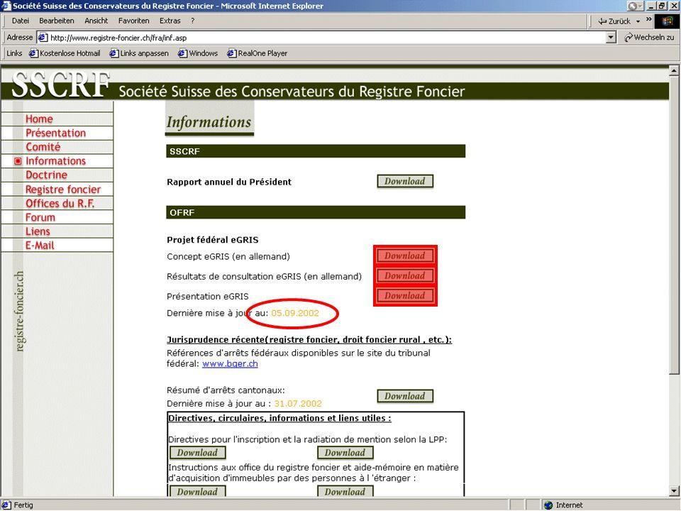 54 ème Congrès de la Société Suisse des Conservateurs du Registre Foncier Présentation eGRIS www.registre-foncier.ch