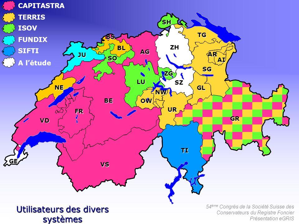 54 ème Congrès de la Société Suisse des Conservateurs du Registre Foncier Présentation eGRIS CAPITASTRA TERRIS ISOV FUNDIX SIFTI Utilisateurs des dive