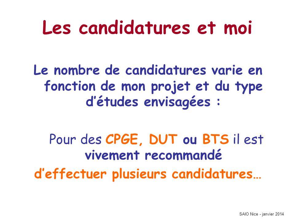 SAIO Nice - janvier 2014 Les candidatures et moi Le nombre de candidatures varie en fonction de mon projet et du type détudes envisagées : Pour des CP
