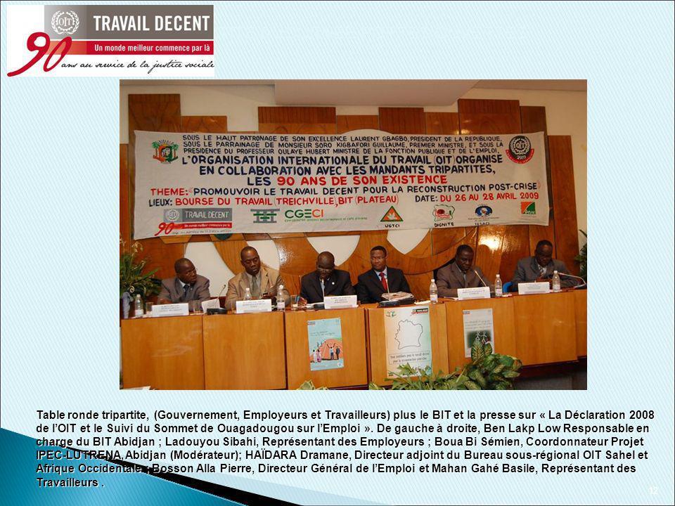 12 Table ronde tripartite, (Gouvernement, Employeurs et Travailleurs) plus le BIT et la presse sur « La Déclaration 2008 de lOIT et le Suivi du Sommet de Ouagadougou sur lEmploi ».