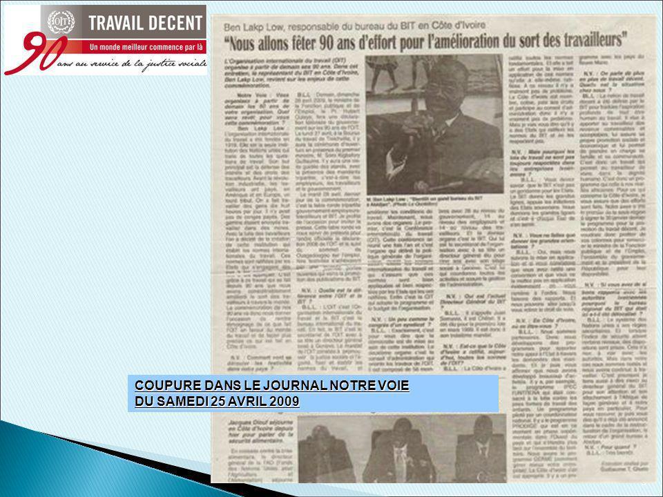 5 COUPURE DANS LE JOURNAL NOTRE VOIE DU SAMEDI 25 AVRIL 2009