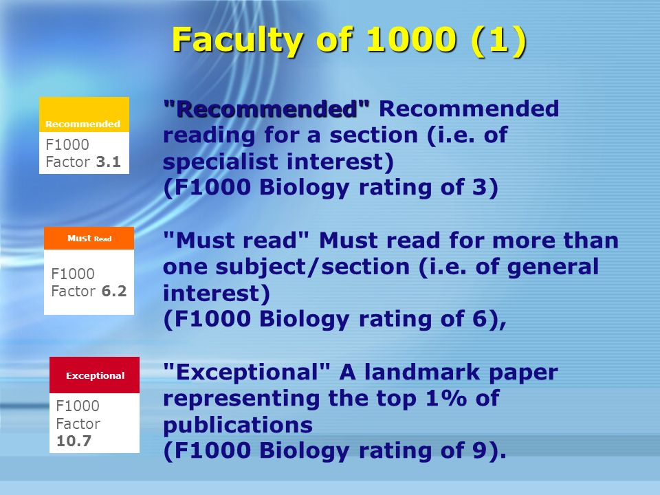 Faculty of 1000 (1) Recommended Recommended Recommended reading for a section (i.e.
