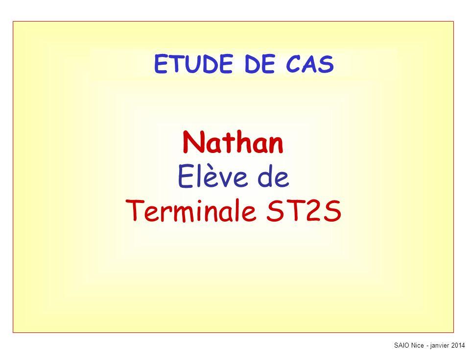 Nathan Elève de Terminale ST2S SAIO Nice - janvier 2014 ETUDE DE CAS