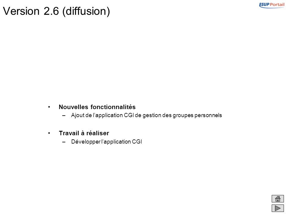 Version 2.6 (diffusion) Nouvelles fonctionnalités –Ajout de lapplication CGI de gestion des groupes personnels Travail à réaliser –Développer lapplication CGI