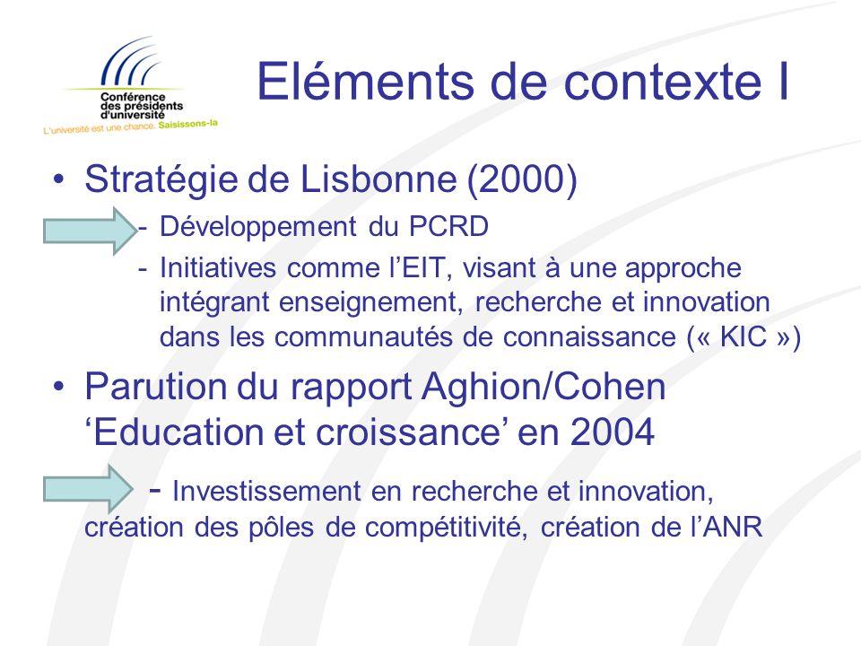 Eléments de contexte I Stratégie de Lisbonne (2000) -Développement du PCRD -Initiatives comme lEIT, visant à une approche intégrant enseignement, recherche et innovation dans les communautés de connaissance (« KIC ») Parution du rapport Aghion/Cohen Education et croissance en 2004 - Investissement en recherche et innovation, création des pôles de compétitivité, création de lANR