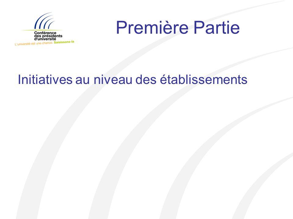 Première Partie Initiatives au niveau des établissements