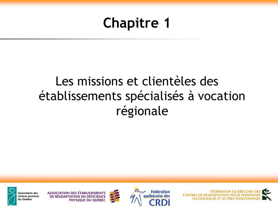 Chapitre 1 Les missions et clientèles des établissements spécialisés à vocation régionale
